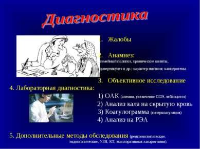 Жалобы 2. Анамнез: семейный полипоз, хронические колиты, дивертикулез и др.; ...
