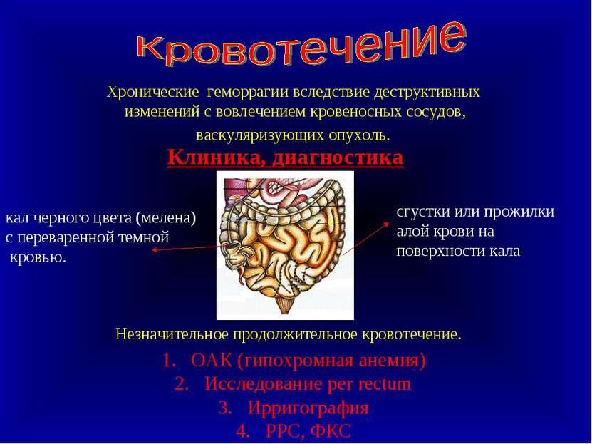 Клиника, диагностика Хронические геморрагии вследствие деструктивных изменени...