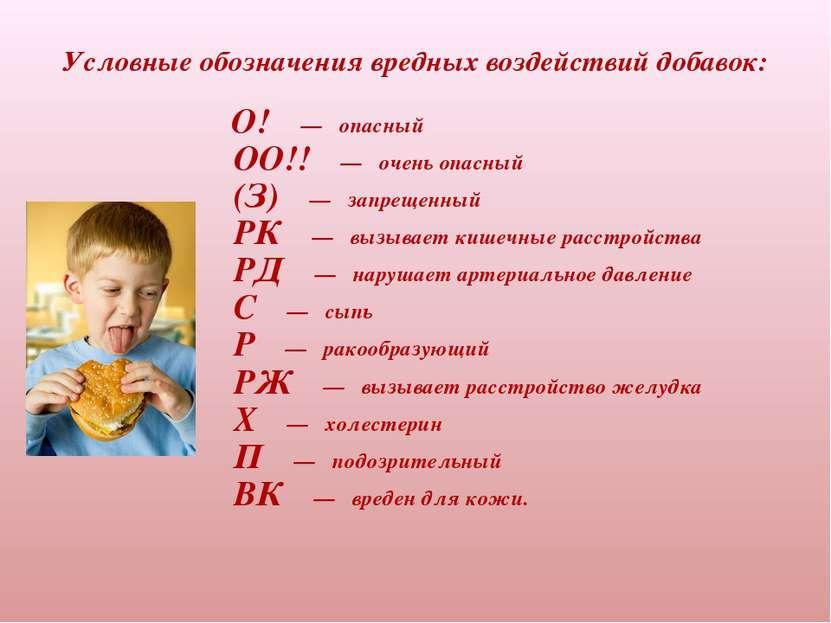 Условные обозначения вредных воздействий добавок:  О! —...