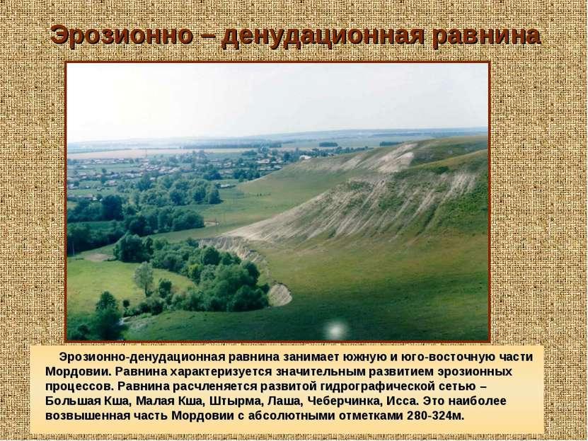 Эрозионно – денудационная равнина Эрозионно-денудационная равнина занимает юж...