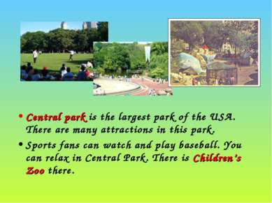 Central park is the largest park of the USA. There are many attractions in th...