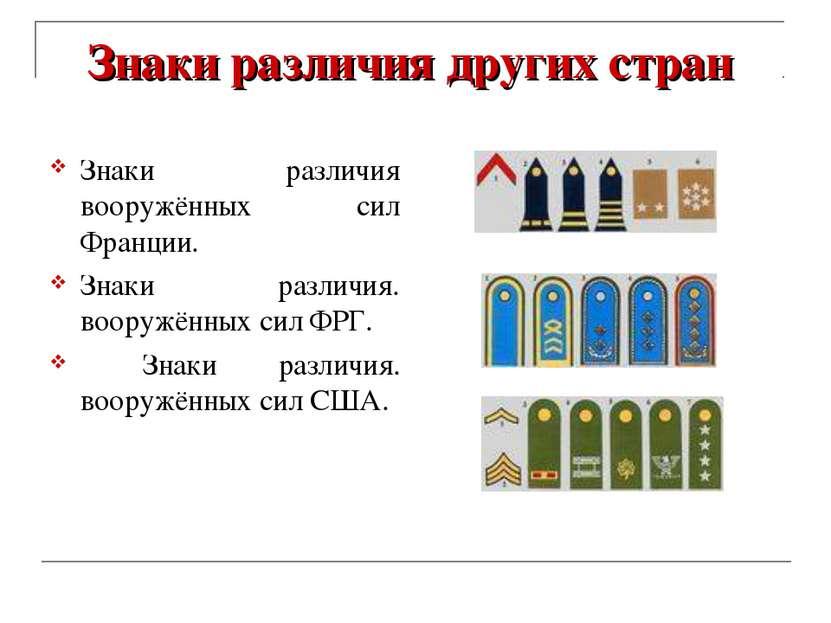Знаки различия других стран Знаки различия вооружённых сил Франции. Знаки раз...