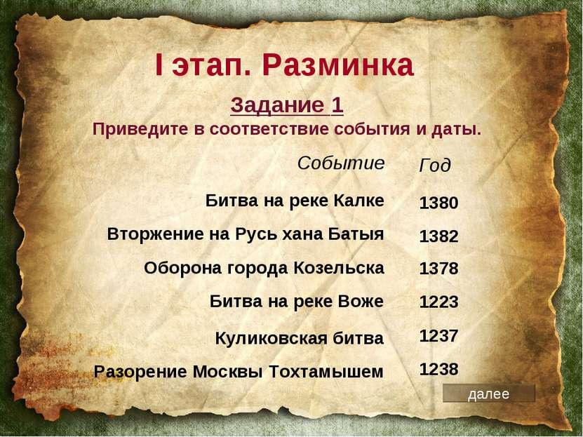 I этап. Разминка Событие Битва на реке Калке Вторжение на Русь хана Батыя Обо...