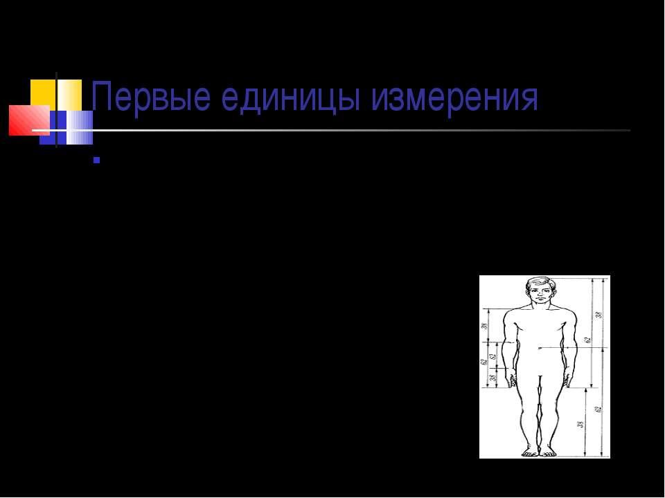 Первые единицы измерения Первые единицы длины как в России, так и в других ст...