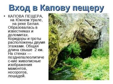 Вход в Капову пещеру КАПОВА ПЕЩЕРА, на Южном Урале, на реке Белая. Образовала...