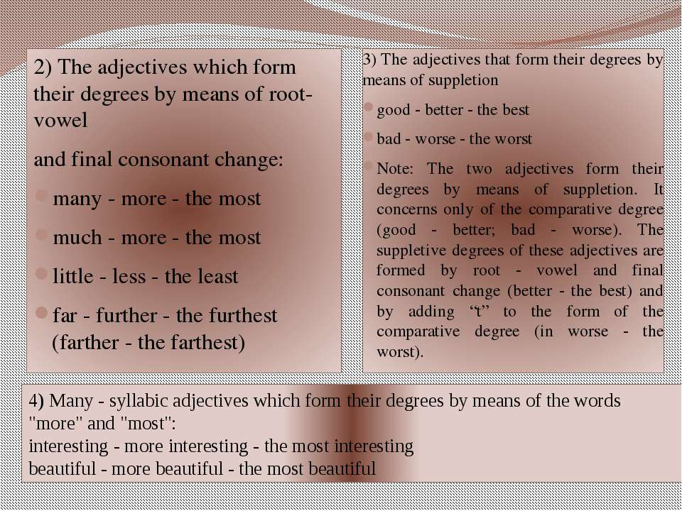 2) The adjectives which form their degrees by means of root-vowel and final c...