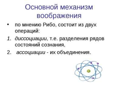 Основной механизм воображения по мнению Рибо, состоит из двух операций: диссо...