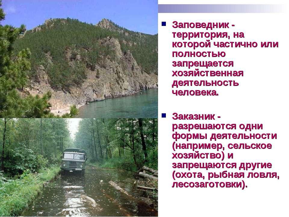 Заповедник - территория, на которой частично или полностью запрещается хозяйс...