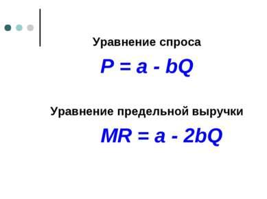 Уравнение спроса P = a - bQ Уравнение предельной выручки MR = a - 2bQ