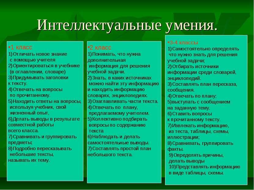Интеллектуальные умения. 1 класс 1)Отличать новое знание с помощью учителя 2)...