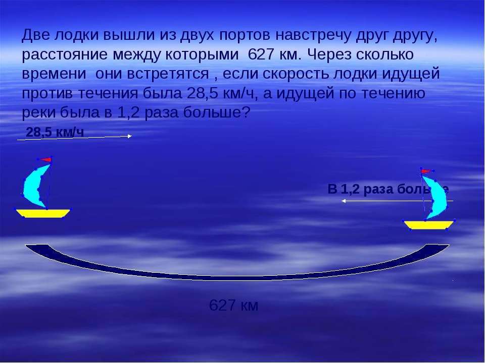 Две лодки вышли из двух портов навстречу друг другу, расстояние между которым...