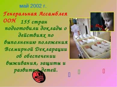155 стран Генеральная Ассамблея ООН май 2002 г. подготовили доклады о действи...