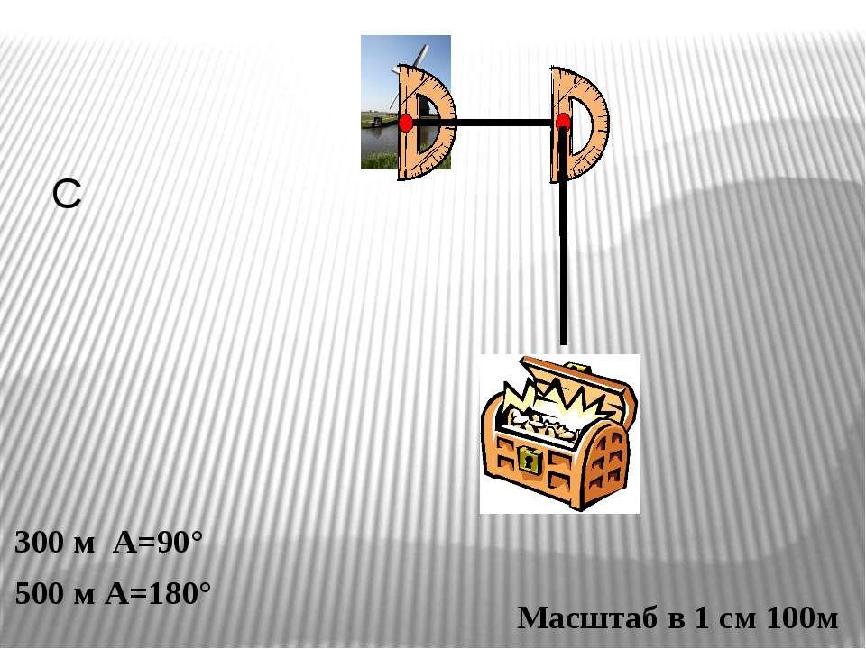 С 300 м А=90° 500 м А=180° Масштаб в 1 см 100м