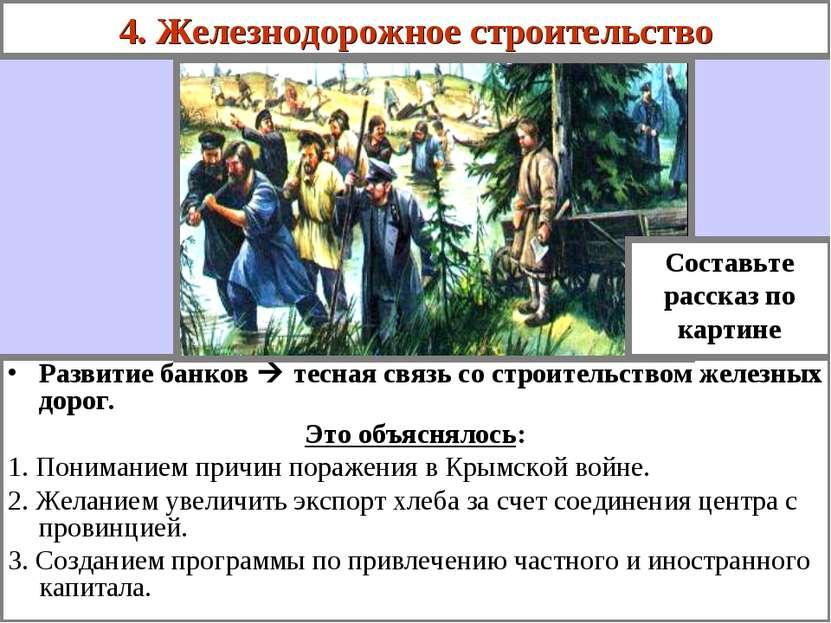 4. Железнодорожное строительство Развитие банков тесная связь со строительств...