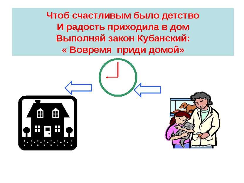 Чтоб счастливым было детство И радость приходила в дом Выполняй закон Кубанск...