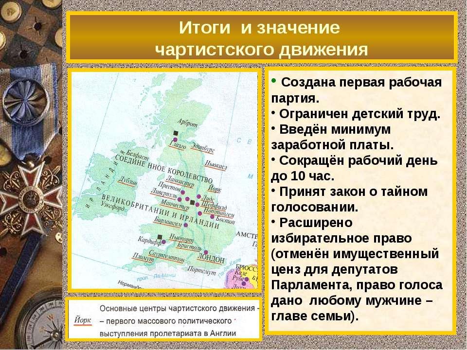 1838 - программа чартистов (народная хартия): всеобщее избирательной право