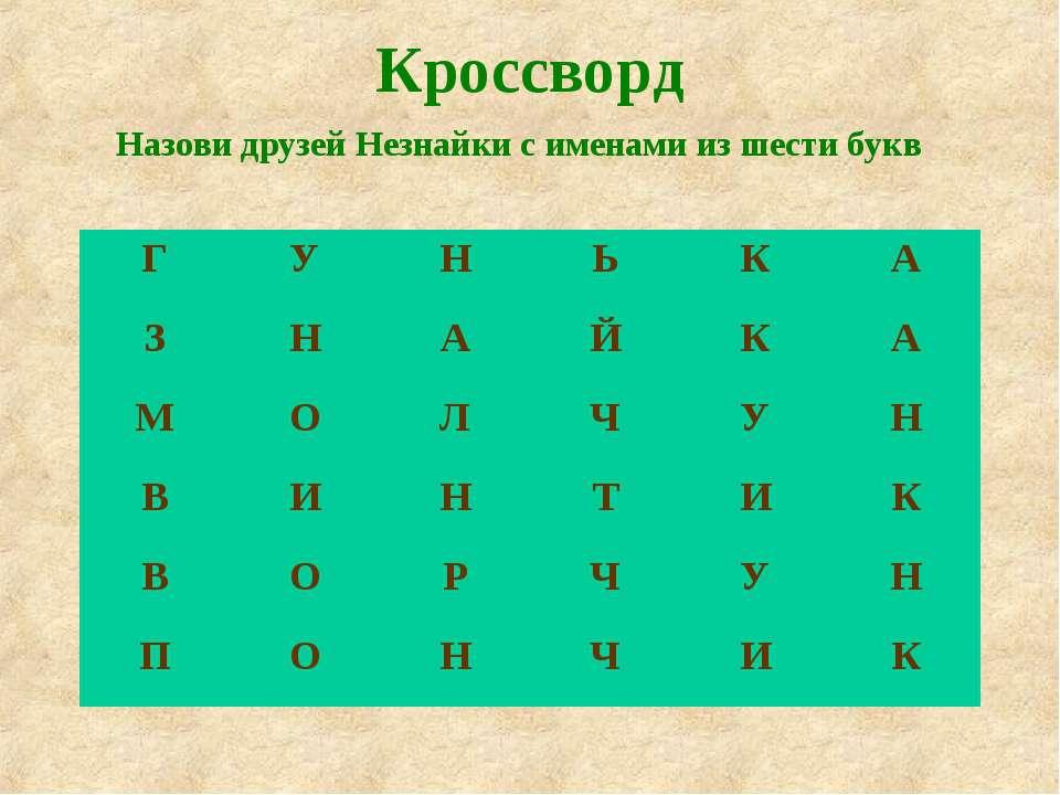 Кроссворд Назови друзей Незнайки с именами из шести букв