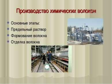 Производство химических волокон Основные этапы: Прядильный раствор Формование...
