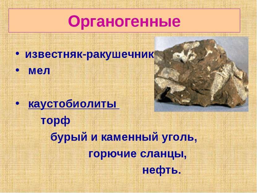 Органогенные известняк-ракушечник мел каустобиолиты торф бурый и каменный уго...