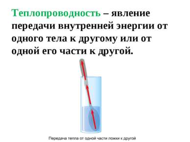 Теплопроводность – явление передачи внутренней энергии от одного тела к друго...