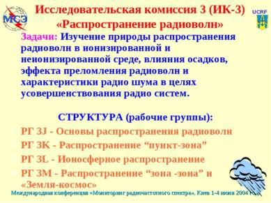 Исследовательская комиссия 3 (ИК-3) «Распространение радиоволн» Задачи: Изуче...