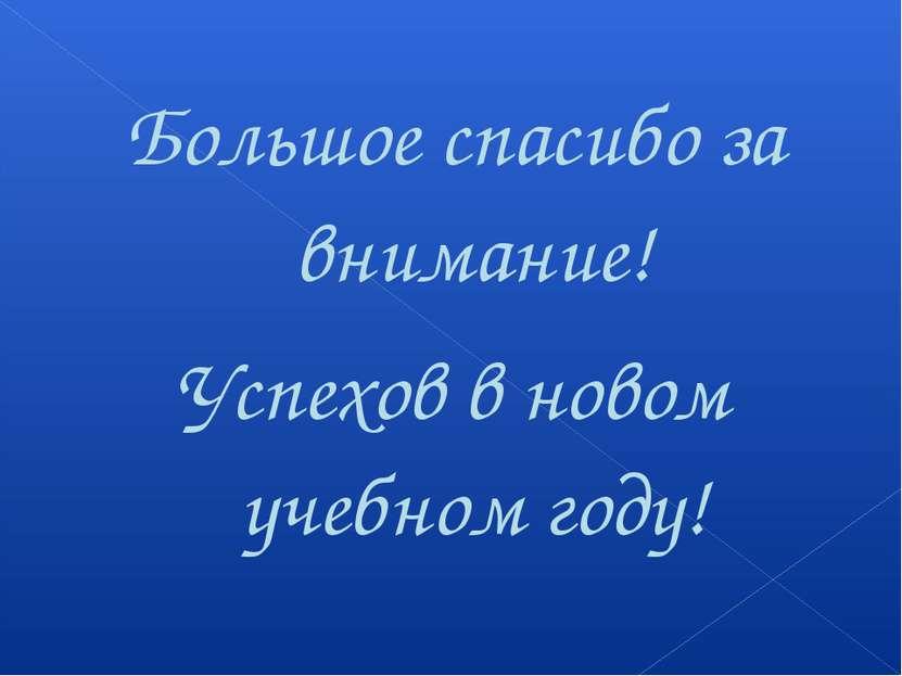 Большое спасибо за внимание! Успехов в новом учебном году!