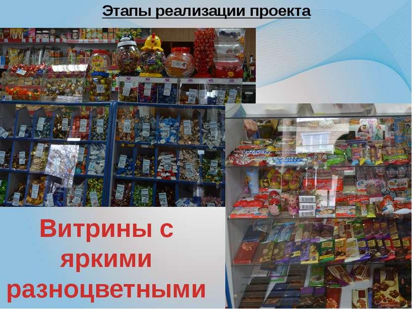 Этапы реализации проекта Витрины с яркими разноцветными конфетами