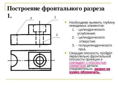 Построение фронтального разреза 1. Необходимо выявить глубину невидимых элеме...