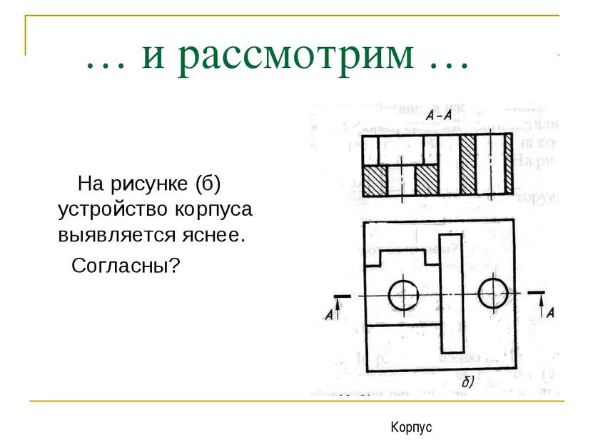 … и рассмотрим … На рисунке (б) устройство корпуса выявляется яснее. Согласны...