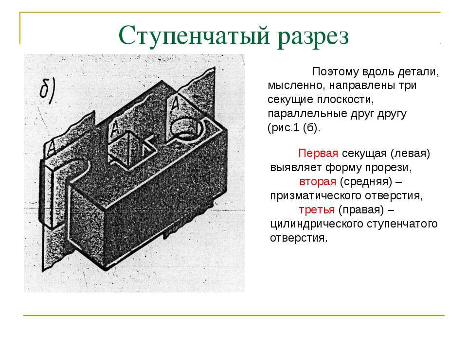 Ступенчатый разрез Первая секущая (левая) выявляет форму прорези, вторая (сре...