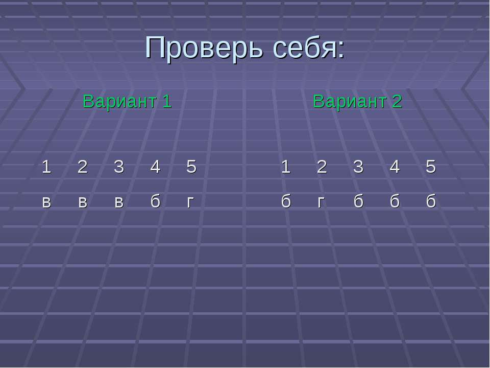 Проверь себя: Вариант 1 Вариант 2 1 2 3 4 5 в в в б г 1 2 3 4 5 б г б б б