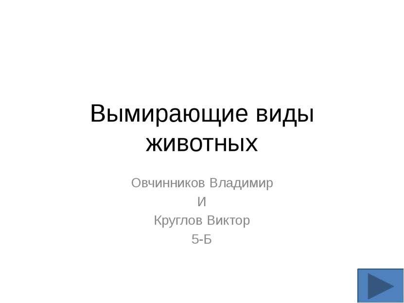 Вымирающие виды животных Овчинников Владимир И Круглов Виктор 5-Б