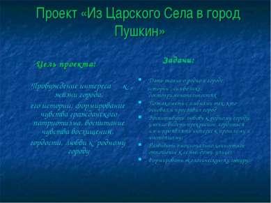 Проект «Из Царского Села в город Пушкин» Цель проекта: Пробуждение интереса к...