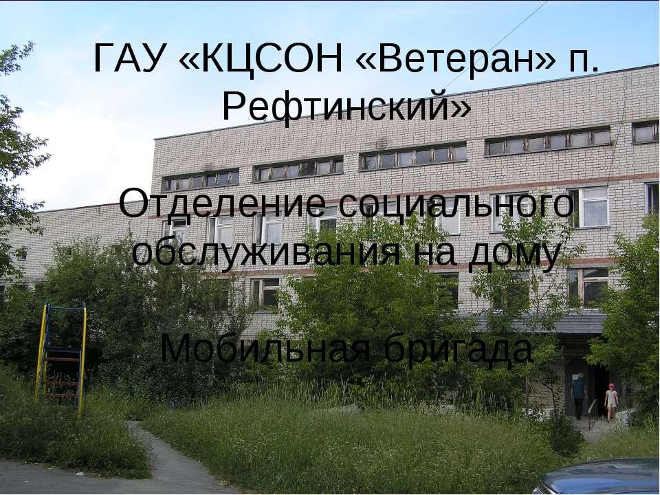 ГАУ «КЦСОН «Ветеран» п. Рефтинский» Отделение социального обслуживания на дом...