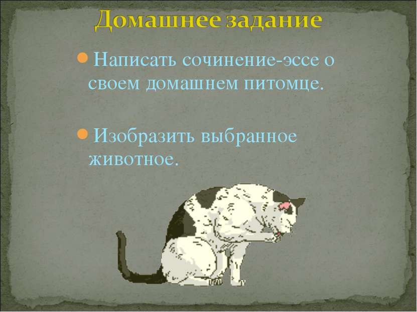 Написать сочинение-эссе о своем домашнем питомце. Изобразить выбранное животное.