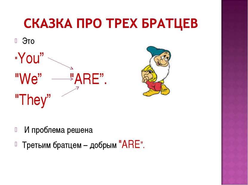 "Это ""You"" ""We"" ""ARE"". ""They""  И проблема решена  Третьим братцем – добрым..."