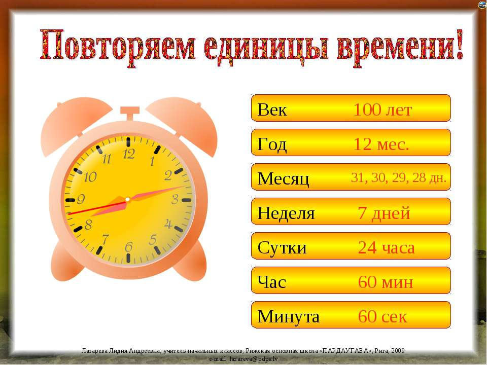 Век Год Месяц Неделя Сутки 100 лет 12 мес. 31, 30, 29, 28 дн. 7 дней 24 часа ...