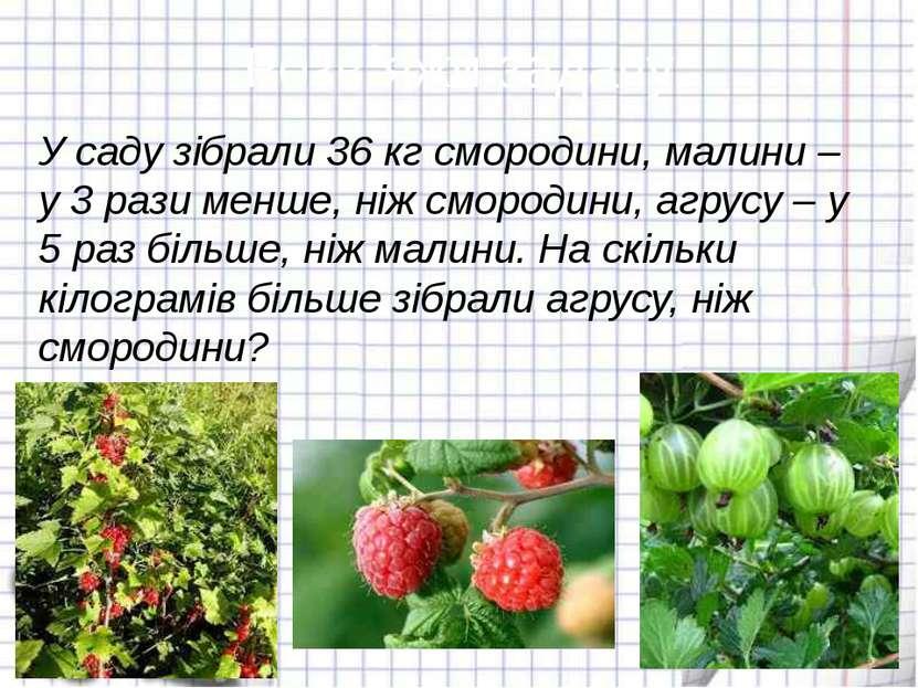 Розв´яжи задачу У саду зібрали 36 кг смородини, малини – у 3 рази менше, ніж ...