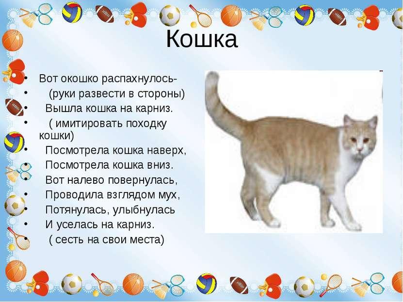 Кошка Вот окошко распахнулось- (руки развести в стороны) Вышла кошка на карни...