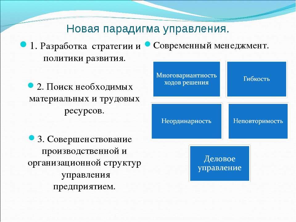 Новая парадигма управления. 1. Разработка стратегии и политики развития. 2. П...
