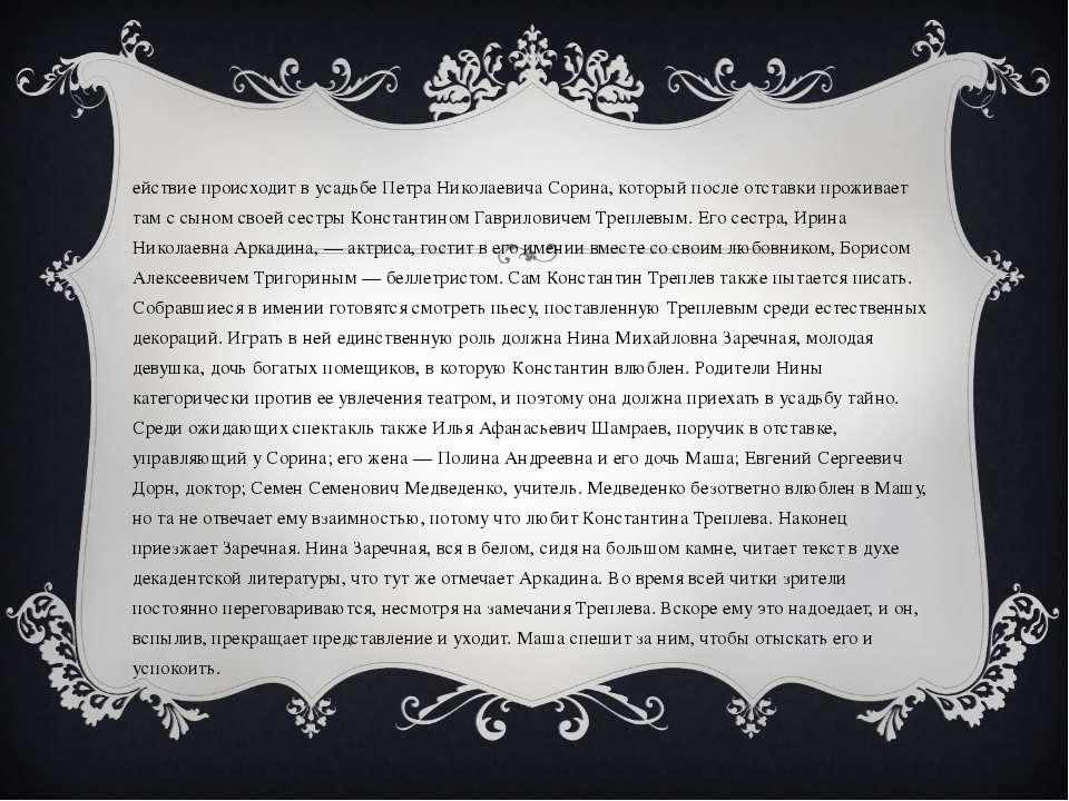 Действие происходит в усадьбе Петра Николаевича Сорина, который после отставк...