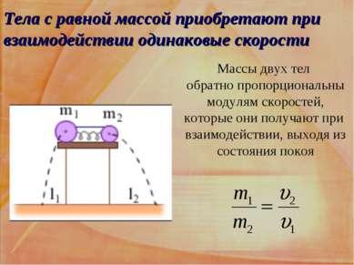 Тела с равной массой приобретают при взаимодействии одинаковые скорости Массы...