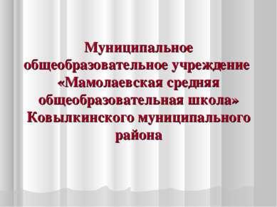 Муниципальное общеобразовательное учреждение «Мамолаевская средняя общеобразо...