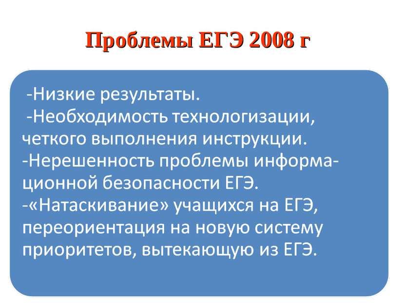 Проблемы ЕГЭ 2008 г