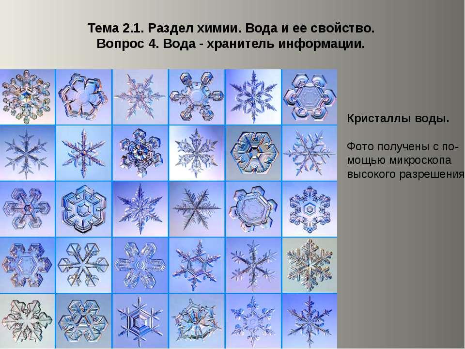 Тема 2.1. Раздел химии. Вода и ее свойство. Вопрос 4. Вода - хранитель информ...