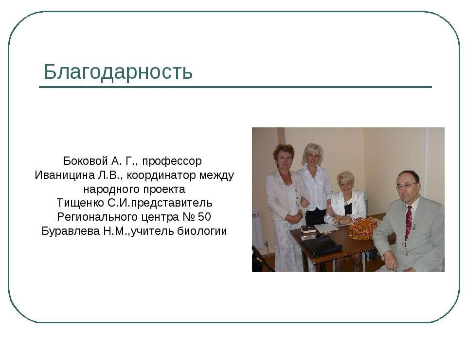 Благодарность Боковой А. Г., профессор Иваницина Л.В., координатор между наро...