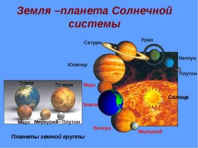 Земля –планета Солнечной системы Меркурий Венера Земля Марс Юпитер Сатурн Ура...