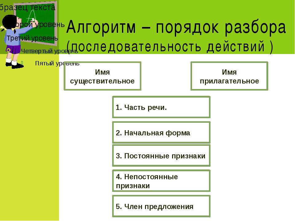 Алгоритм – порядок разбора (последовательность действий ) Имя существительное...