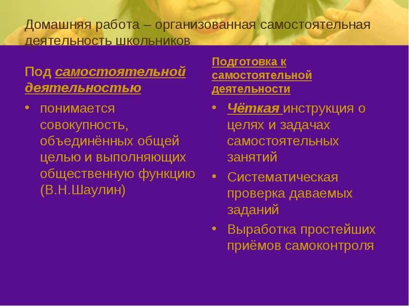 Домашняя работа – организованная самостоятельная деятельность школьников Под ...
