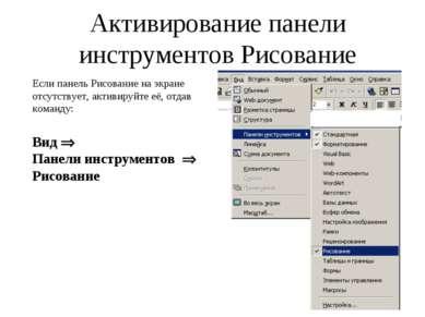Активирование панели инструментов Рисование Если панель Рисование на экране о...
